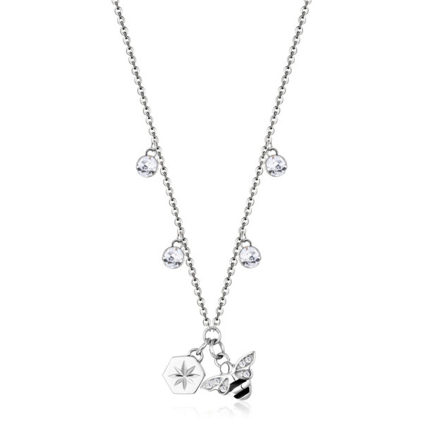 316L stainless steel necklace with bee and North Star pendants and crystals.