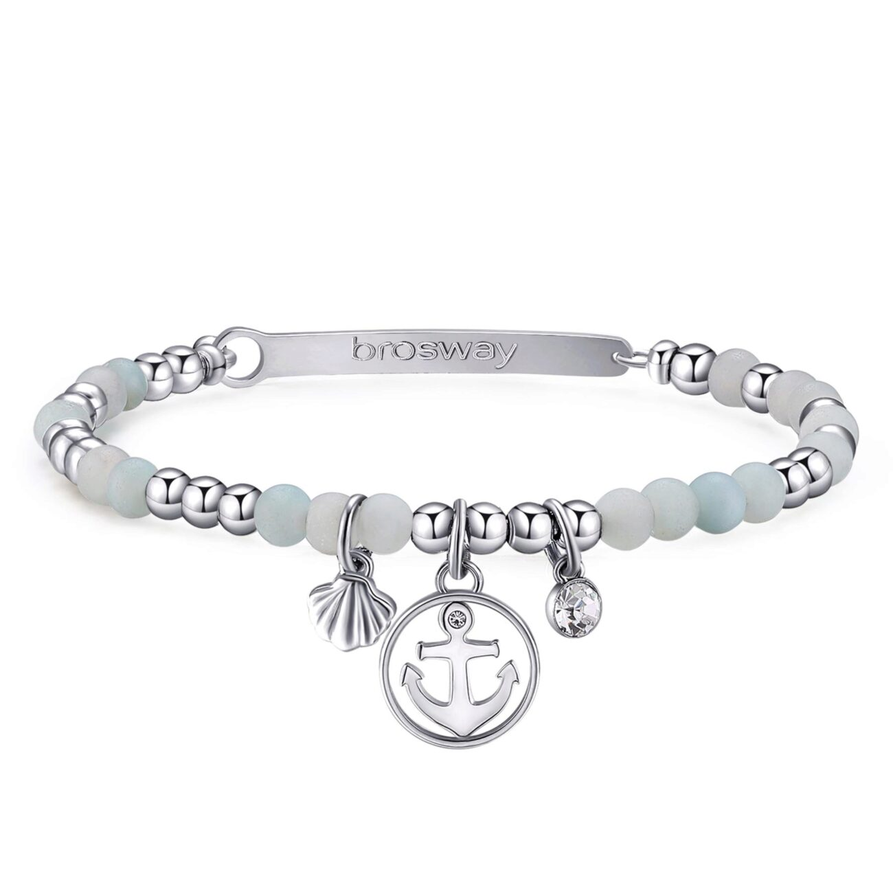 ANCHOR: SECURITY, HOPE, EQUILIBRIUMENGRAVED: Find infinity over the horizon (front)An anchor symbolises the safety of Terra firma, holding firm to something that, by its very nature, is never at rest. It represents the hope of always finding a safe port in a storm.316L stainless steel bracelet, amazonite with anchor and seashell pendants and crystal.