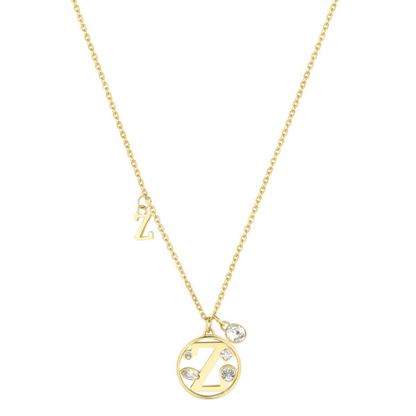 LETTER Z: UNDERSTANDING, INTUITION, COMPETITIVENESSThose whose name starts with the letter 'Z' are understanding, devoted to their family and have a nose for business. Zs are highly intuitive individuals who love putting themselves to the test just for the simple pleasure of winning.316L stainless steel necklace and gold finishes with letter and crystal crystals.