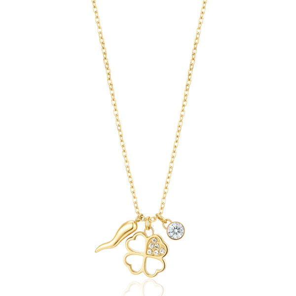 4-LEAF CLOVER: LUCK, POSITIVITY, SUCCESSSymbols of good fortune offer protection and positivity. The hardships of life are nothing compared to the joy of success.316L stainless steel necklace, gold finishes with four-leaf clover pendant and crystal.