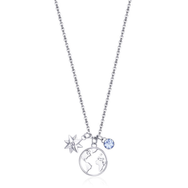 WORLD: PROTECTION, GUIDE, DISCOVERYFor travelers who are curious and dreamers, symbols of guide and protection that indicate the way forward. It is a good omen to look forward and find new opportunities.316L stainless steel necklace with pendants, crystals and light sapphire crystal.
