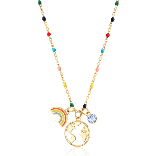 WORLD: PROTECTION, GUIDE, DISCOVERYFor travelers who are curious and dreamers, symbols of guide and protection that indicate the way forward. It is a good omen to look forward and find new opportunities.316L stainless steel necklace, gold finishes with pendants, crystals and light sapphire crystal