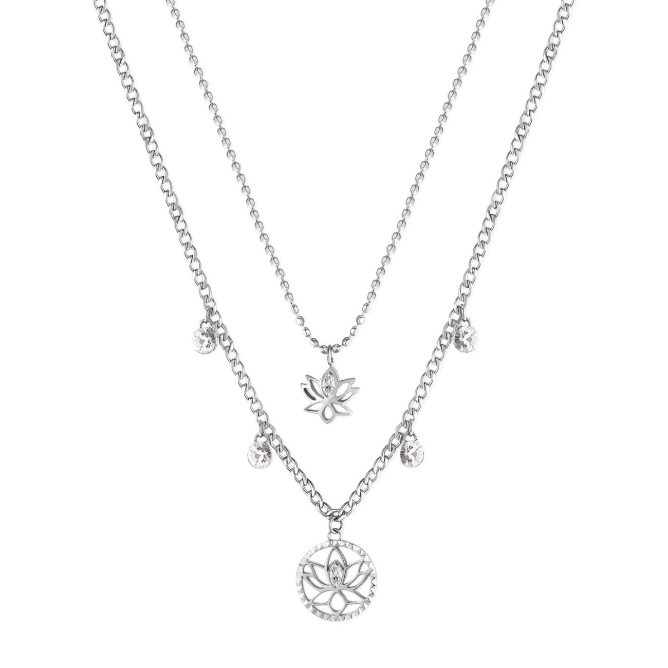 LOTUS FLOWER: REBIRTH, STRENGTH, BEAUTYThe lotus flower means new beginning, the end of an era and the rebirth, a redemption based on strength and perseverance. It is the symbol of elegance, beauty and purity.316L stainless steel double necklace with lotus flower pendants and crystals.