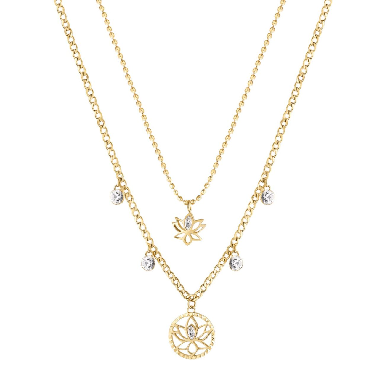 LOTUS FLOWER: REBIRTH, STRENGTH, BEAUTYThe lotus flower means new beginning, the end of an era and the rebirth, a redemption based on strength and perseverance. It is the symbol of elegance, beauty and purity.316L stainless steel double necklace, gold finishes with lotus flower pendants and crystals.