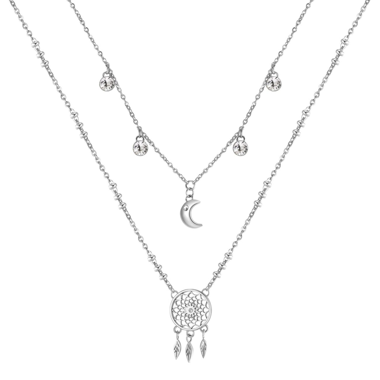 DREAMCATCHER: SERENITY, PROTECTION, HOPEBe swaddled in positive dreams and protected from negative ones: dreamcatchers pass happy thoughts and positive energy through your centre to your brain while you are sleeping316L stainless steel double necklace with dreamcatcher and moon pendants and crystals.