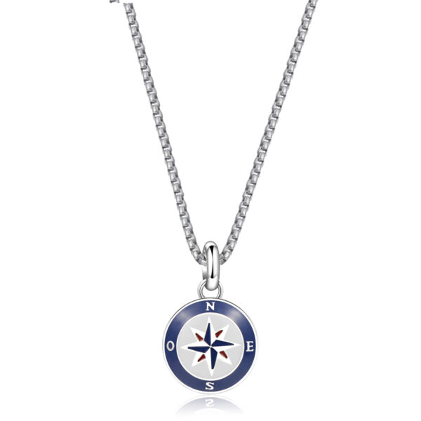 Box set composed of 316L stainless steel necklace with enameled pendant and blue nautical cord necklace.