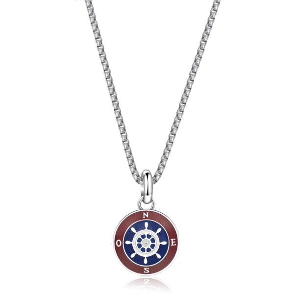Box set composed of 316L stainless steel necklace with enameled pendant and blue, white and red nautical cord necklace.