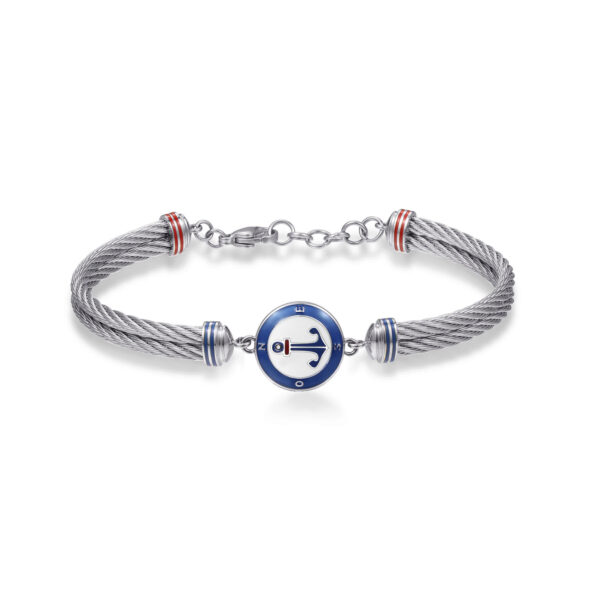 316L stainless steel semirigid bracelet, with anchor and red, blue and white enamel details.