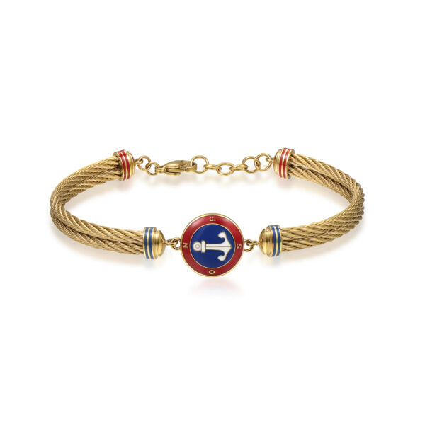 316L stainless steel and gold pvd semirigid bracelet, with anchor and red, blue and white enamel details.