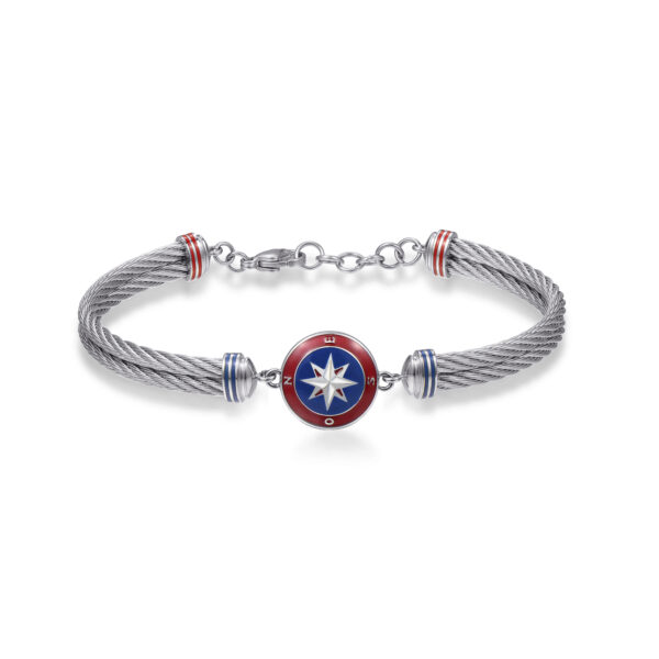 316L stainless steel semirigid bracelet, with compass and red, blue and white enamel details.