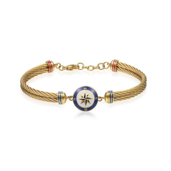 316L stainless steel and gold pvd semirigid bracelet, with compass and red, blue and white enamel details.