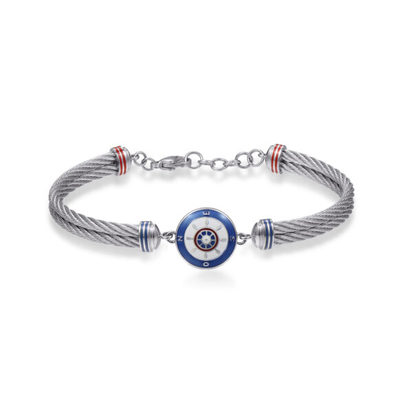 316L stainless steel semirigid bracelet, with helm and red, blue and white enamel details.