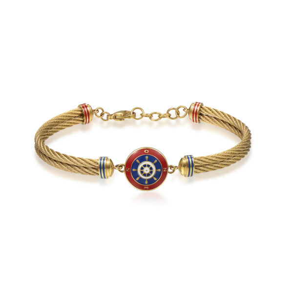 316L stainless steel and gold pvd semirigid bracelet, with helm and red, blue and white enamel details.