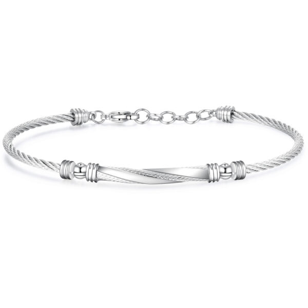 316L stainless steel bracelet with a central tag in polished and satin steel