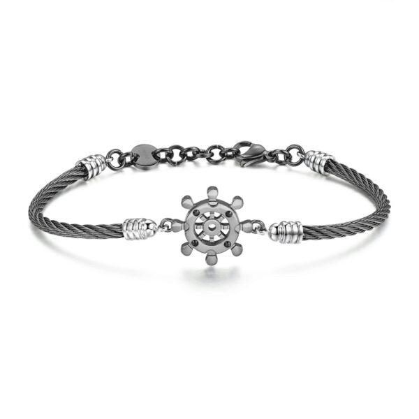 316L stainless steel bracelet, gun pvd and jet Swarovski©crystals