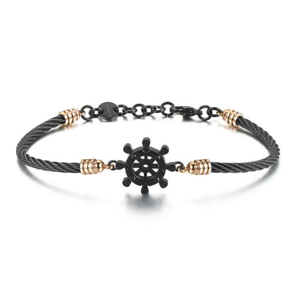 316L stainless steel bracelet, black pvd, rose gold pvd details and jet Swarovski©crystals