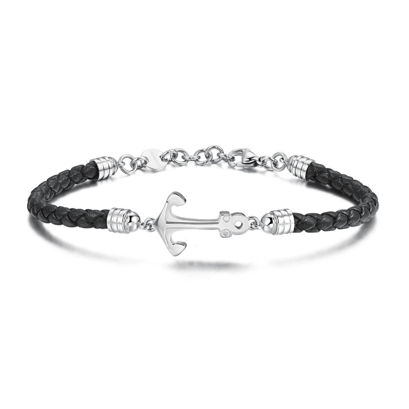 Black leather bracelet and 316L stainless steel anchor