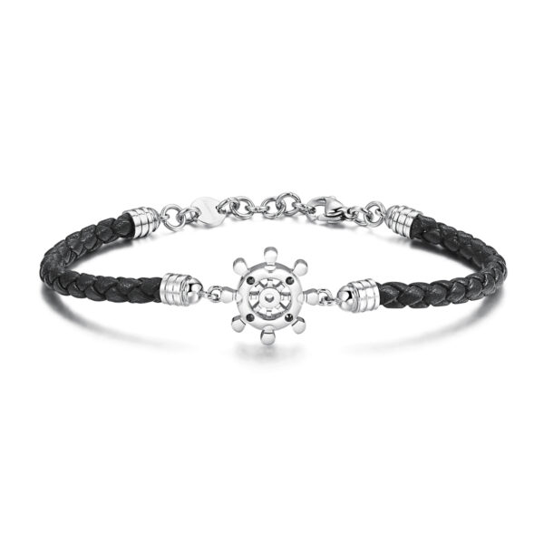 Black leather bracelet and 316L stainless steel with jet Swarovski©crystals