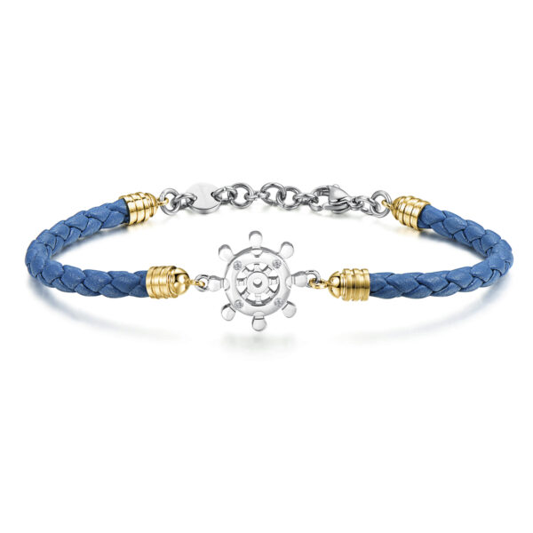 Blue leather bracelet and 316L stainless steel with gold pvd and Swarovski©crystals