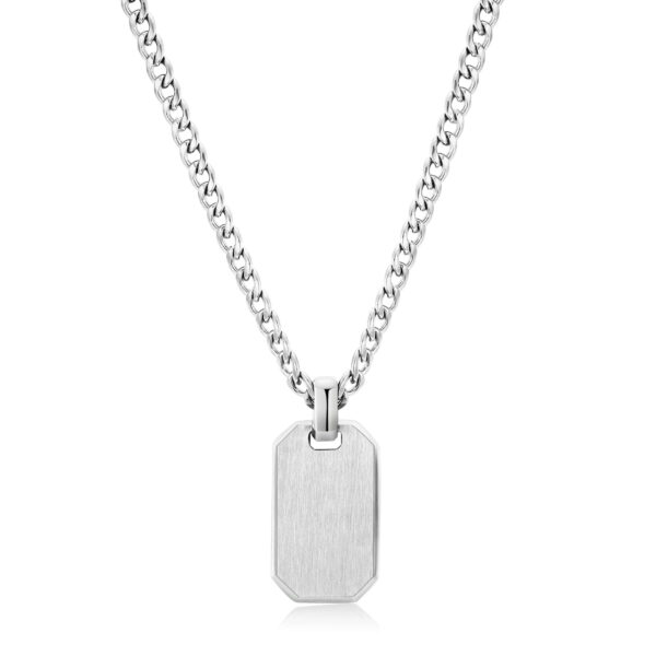 316L stainless steel necklace with tag pendant.