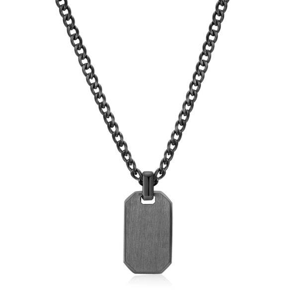 316L stainless steel necklace and gun finishes with tag pendant.