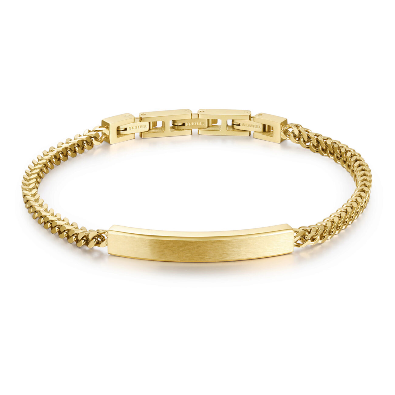 316L stainless steel bracelet and gold finishes.
