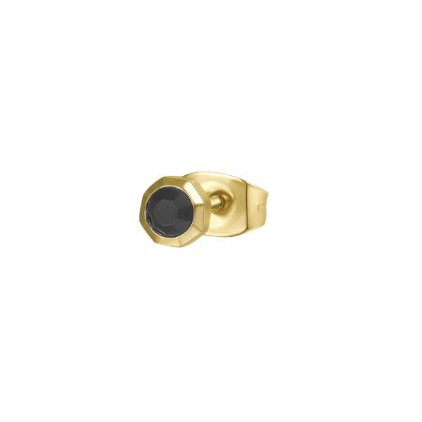 316L stainless steel earring and gold finishes with jet crystal.