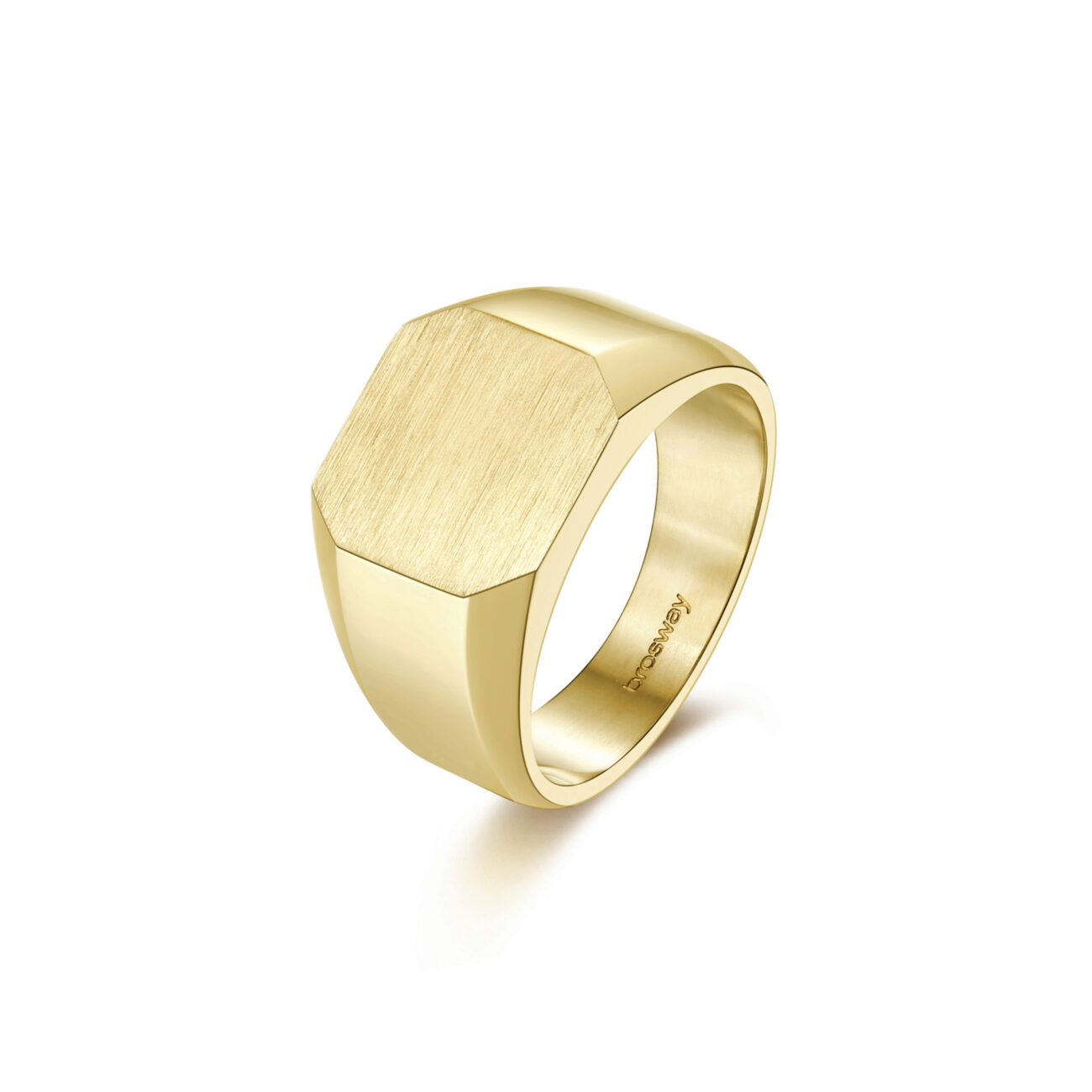 316L stainless steel signet ring and gold finishes.