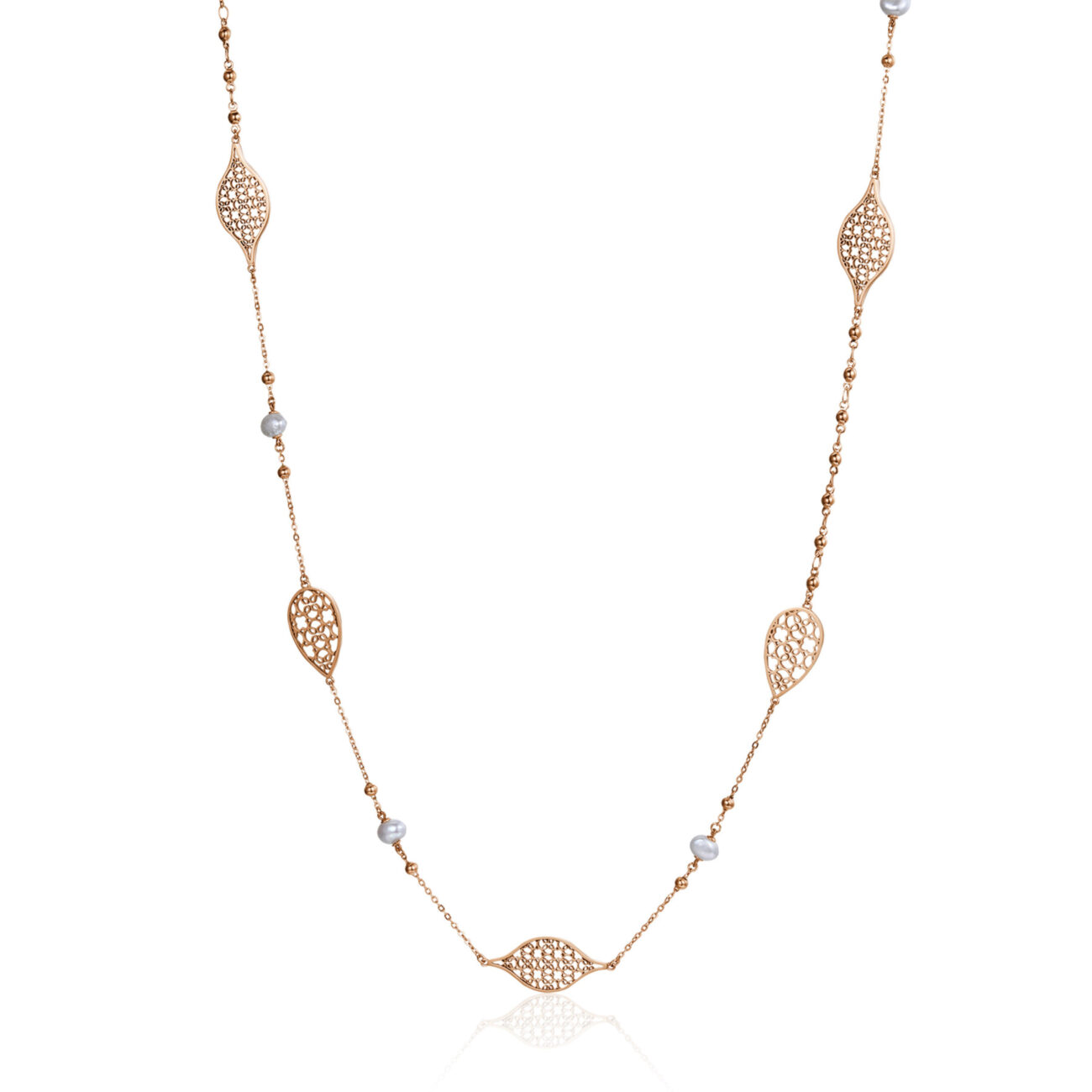 316L stainless steel necklace and rose gold finishes with pearls.