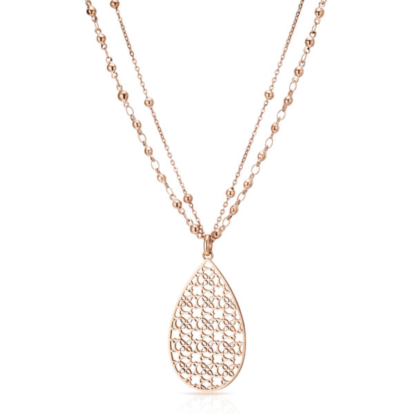 316L stainless steel double chain necklace and rose gold finishes.