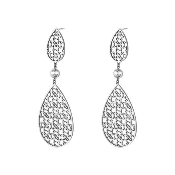 316L stainless steel pendant earrings with crystals.