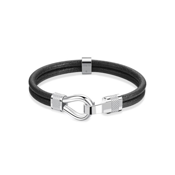 Black leather bracelet and details with polished and brushed 316L stainless steel