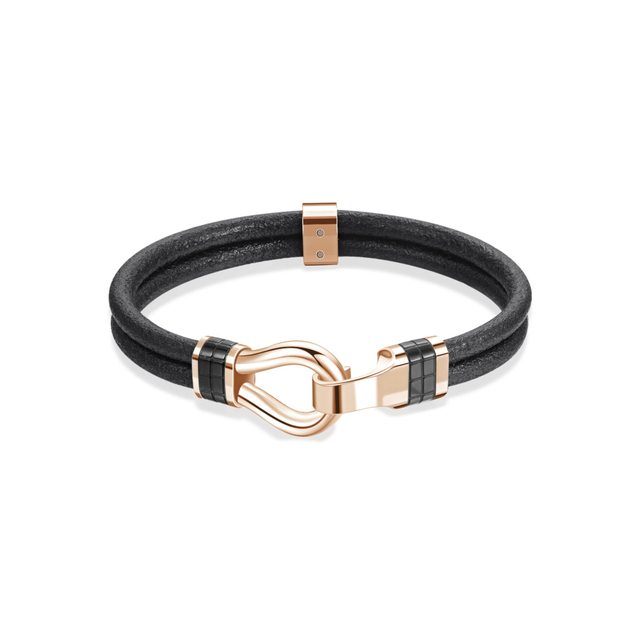 Black leather bracelet and details with gun and rose gold pvd