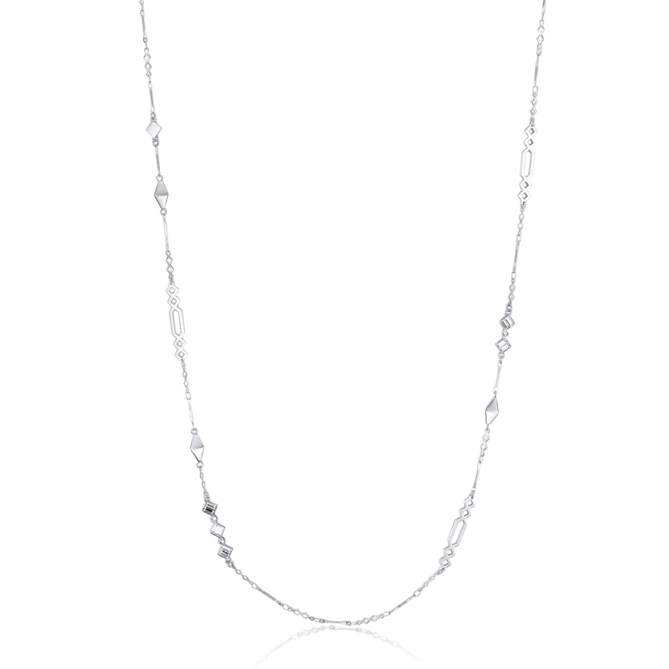 316L stainless steel long island necklace with swarovski crystals.