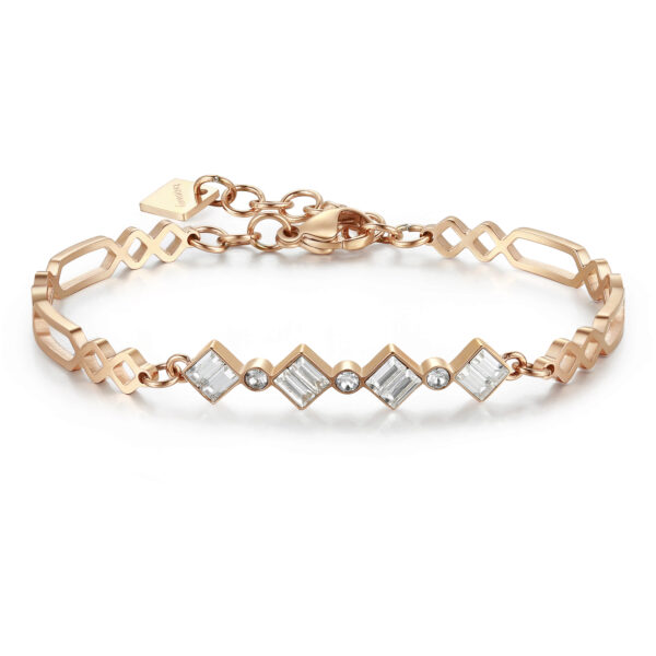 316L stainless steel double rail bracelet and rose gold pvd with swarovski crystals.