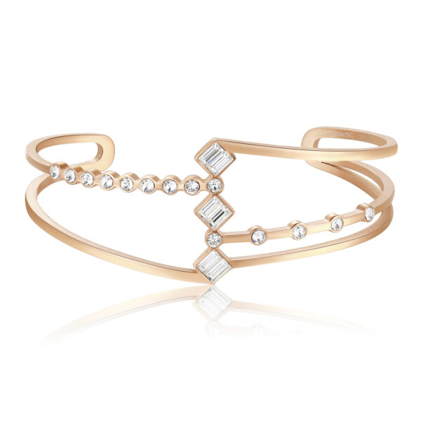 316L stainless steel bangle rail bracelet and rose gold pvd with swarovski crystals.