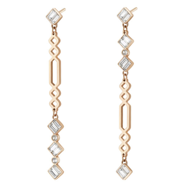 316L stainless steel pendants earrings and rose gold pvd with swarovski crystals.
