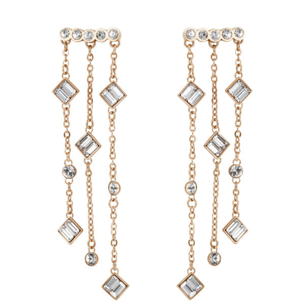 316L stainless steel waterfall earrings and rose gold pvd with round and baguette swarovski crystals.