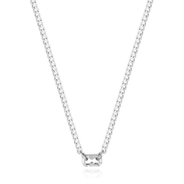 316L stainless steel necklace with polished and brushed steel snap hook.