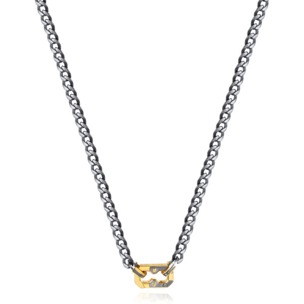 316L stainless steel necklace, burnished gun finish and gold-finish snap hook.
