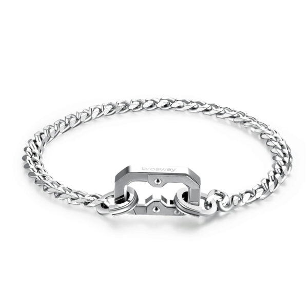 316L stainless steel bracelet with polished and brushed steel snap hook.