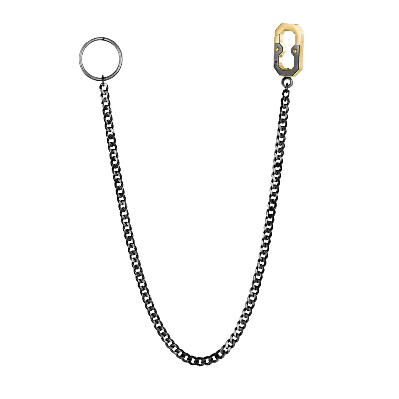 316L stainless steel keychain chain, burnished gun finish and gold finish snap hook.