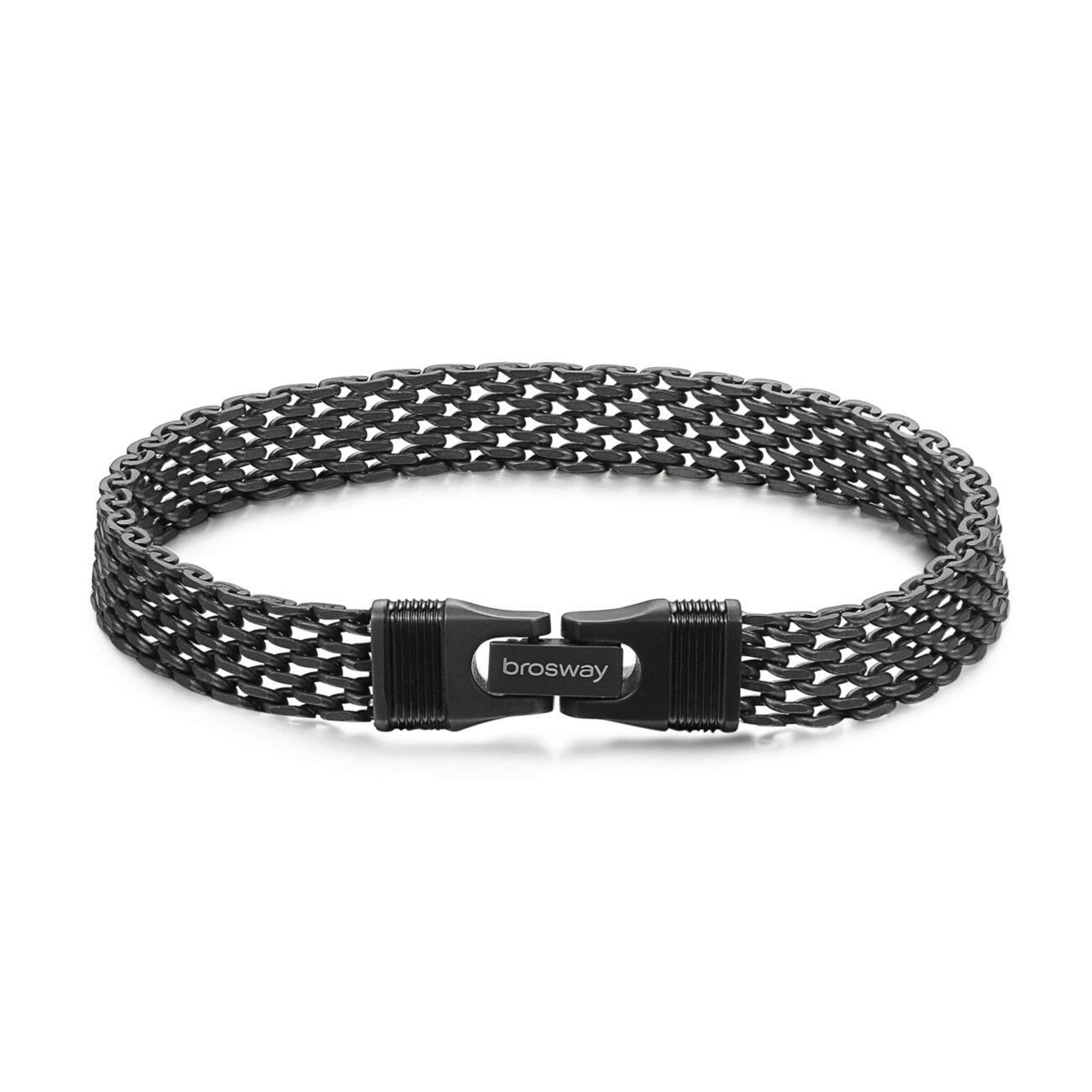 316L stainless steel bracelet with matt gunmetal and black pvd.