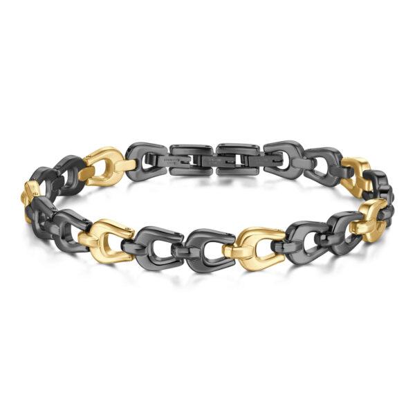 316L stainless steel bracelet, gun pvd and 14k gold.