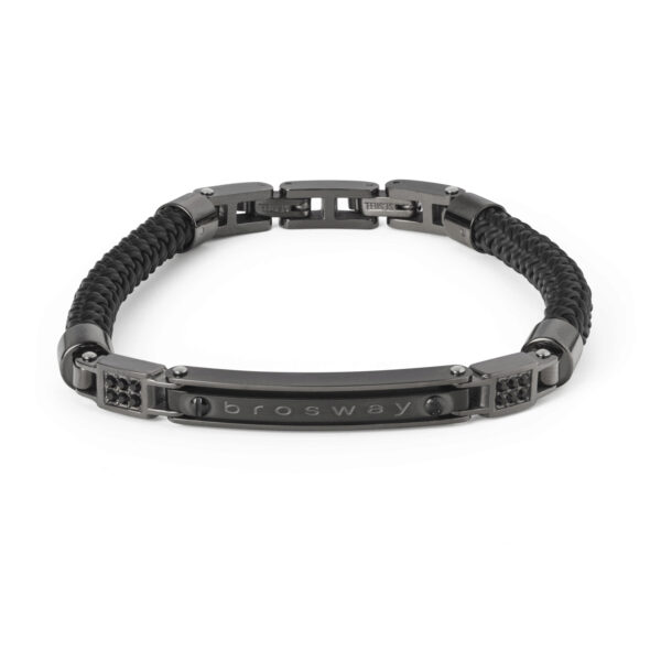 Bracelet in polished and satin gun-metal pvd, black pvd, black rubber and Swarovski® Elements crystals.