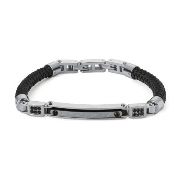 Bracelet in polished and satin stainless steel, gun-metal pvd, black rubber and Swarovski® Elements crystals.