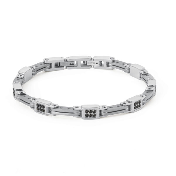 Bracelet in polished and satin stainless steel and Swarovski® Elements crystals.