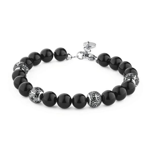 316l stainless steel bracelet with black enamel and black onyx