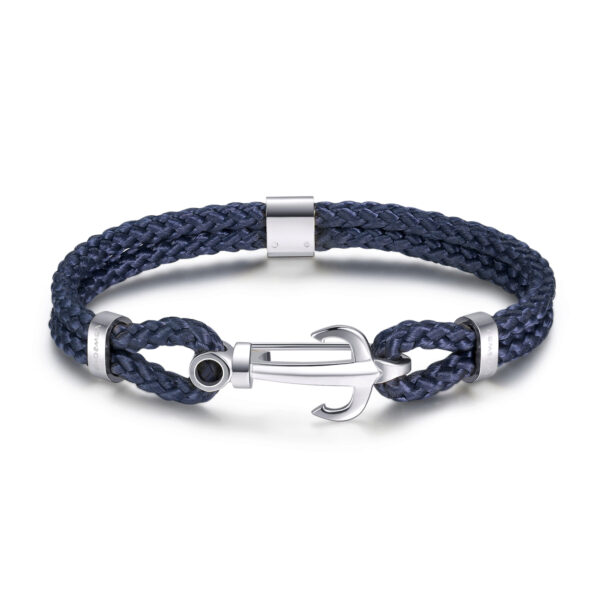 Blue nylon cord bracelet with 316L stainless steel anchor.