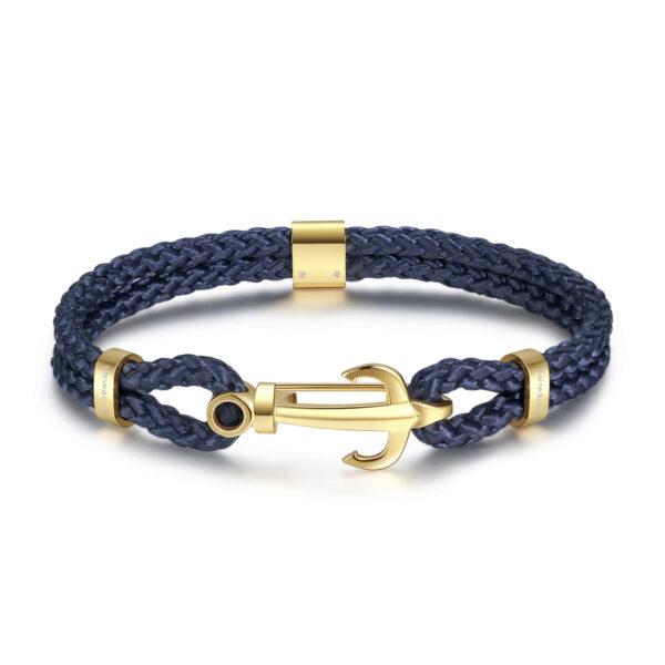 Blue nylon cord bracelet, gold pvd with 316L stainless steel anchor.